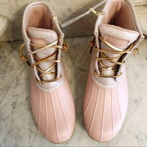 Sperry Rose Gold And Oat Duck Boot Size